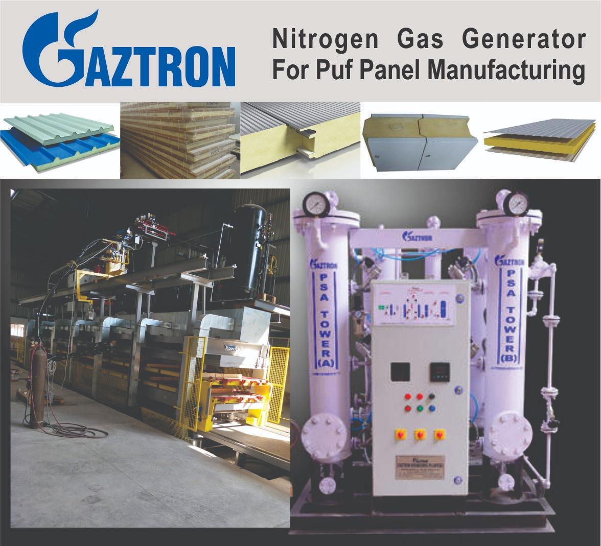 Nitrogen gas generator for puf panel manufacturing